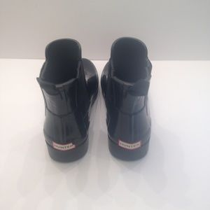 Hunter ankle black gloss rain boots